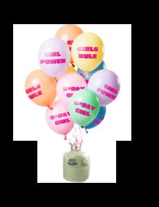 Helium Tank met Birthday Girl Pastel Mix Ballonnen