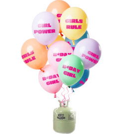 Helium Pakket Helium Tank met Birthday Girl Pastel Mix Ballonnen