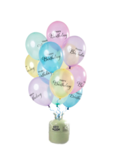 Helium Tank met Tranparante Happy Birthday Mix Ballonnen