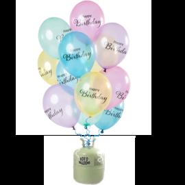Helium Pakket Helium Tank met Tranparante Happy Birthday Mix Ballonnen