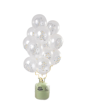 Helium Tank met Origami Mix Ballonnen  1t/m10 Jaar