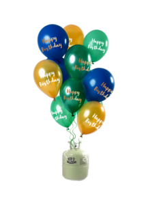 Helium Tank met Happy Birthday Mix Ballonnen Groen/Goud