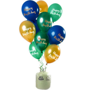 Helium Pakket Helium Tank met Happy Birthday Mix Ballonnen Groen/Goud