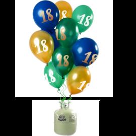 Helium Pakket Helium Tank met Mix Ballonnen 18 t/m 50 Jaar Groen/Goud