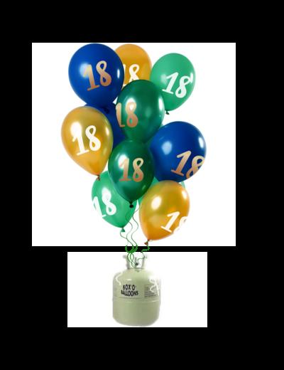 Helium Tank met Mix Ballonnen 18 t/m 50 Jaar Groen/Goud