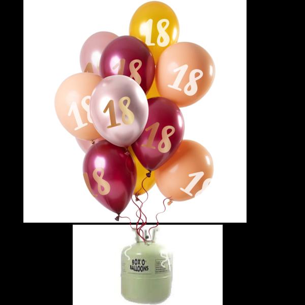 Helium Tank met Mix Ballonnen 18 t/m 50 Jaar Roze/Goud