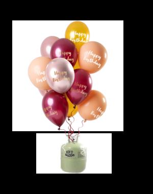 Helium Tank met Happy Birthday Mix Ballonnen Roze/Goud