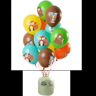 Helium Pakket Helium Tank met Bosdieren Mix Ballonnen