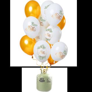 Helium Pakket Helium Tank met Mr & Mrs Mix Ballonnen