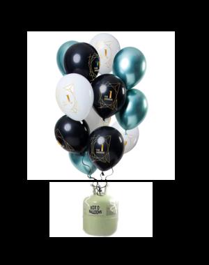 Helium Tank met Jubileum Mix Ballonnen 1 t/m 50 Jaar