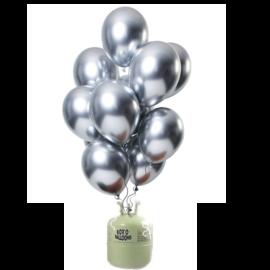 Helium Pakket Helium Tank met Mirror Chrome Ballonnen Zilver