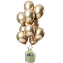 Helium Pakket Helium Tank met Mirror Chrome Ballonnen Goud