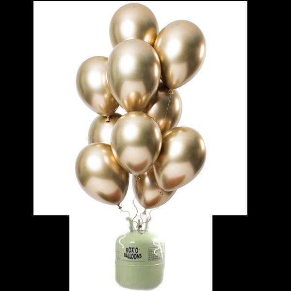 Helium Tank met Mirror Chrome Ballonnen Goud