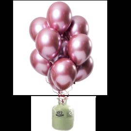Helium Pakket Helium Tank met Mirror Chrome Ballonnen Roze