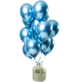 Helium Pakket Helium Tank met Mirror Chrome Ballonnen Blauw