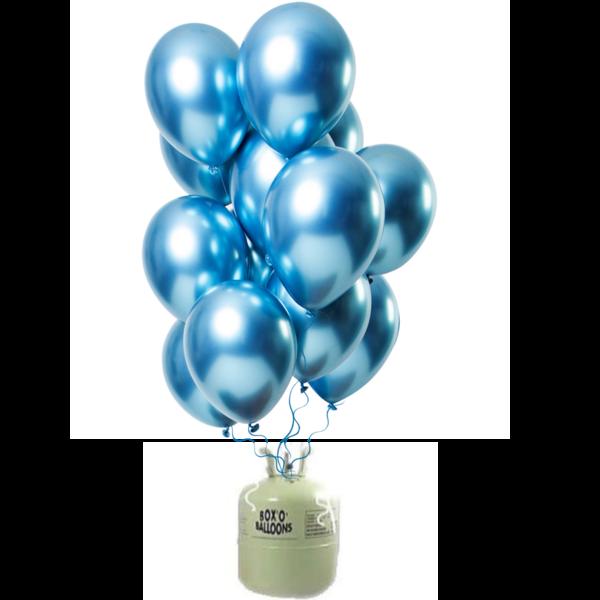 Helium Tank met Mirror Chrome Ballonnen Blauw