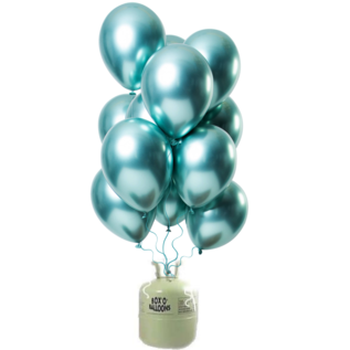 Helium Pakket Helium Tank met Mirror Chrome Ballonnen Groen