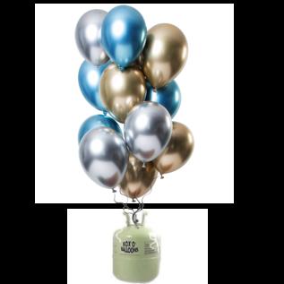 Helium Pakket Helium Tank met Mirror Chrome Ballonnen Sapphire Mix