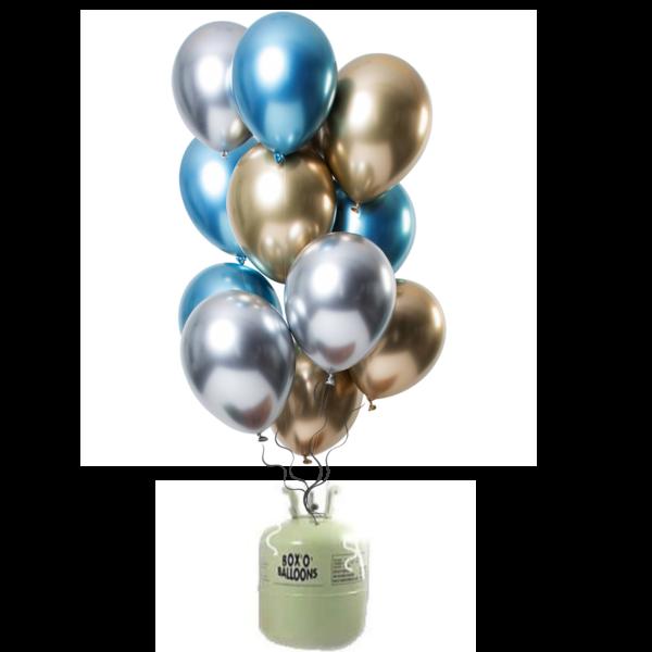 Helium Tank met Mirror Chrome Ballonnen Sapphire Mix