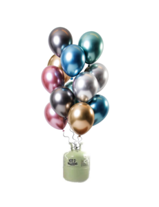 Helium Tank met Mirror Chrome Ballonnen Treasures Mix