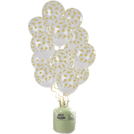 Helium Pakket Helium Tank  met Transparante Stippen  Goud Mix Ballonnen