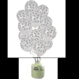 Helium Pakket Helium Tank  met Transparante Stippen Zilver Mix Ballonnen