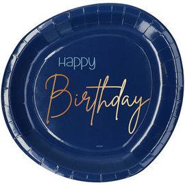 Bordjes Elegant True Blue Bordjes - Happy Birthday