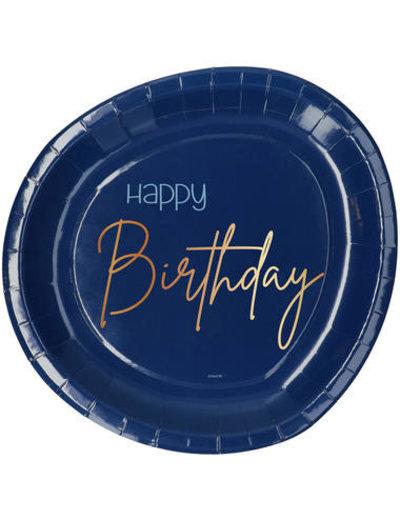 Elegant True Blue Bordjes - Happy Birthday