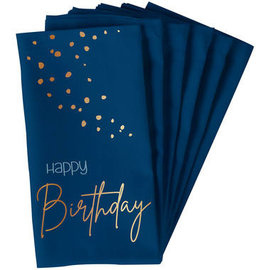 Servetten Elegant True Blue Servetten - Happy Birthday
