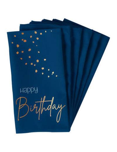 Elegant True Blue Servetten - Happy Birthday