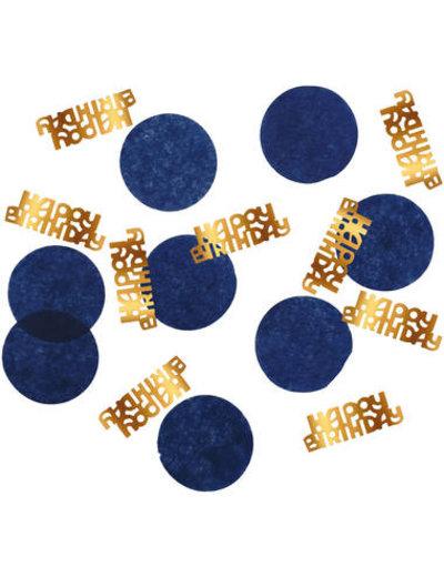Elegant True Blue Confetti - Happy Birthday