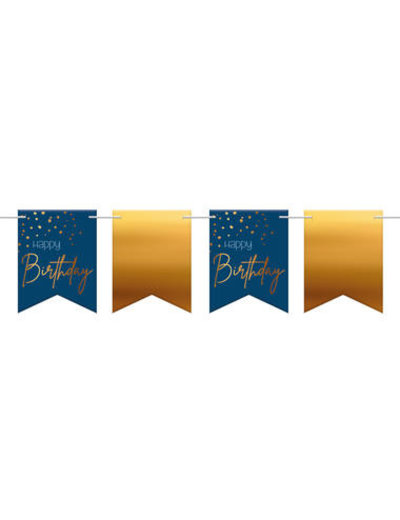 Elegant True Blue Vlaggenlijn - Happy Birthday