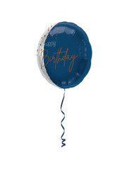 Folieballon Elegant True Blue - Happy Birthday