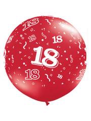 Ballon Robijn Rood  18 Jaar- 90cm  Qualatex