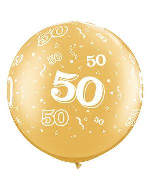 Ballon Goud Metallic  50 Jaar- 90cm  Qualatex