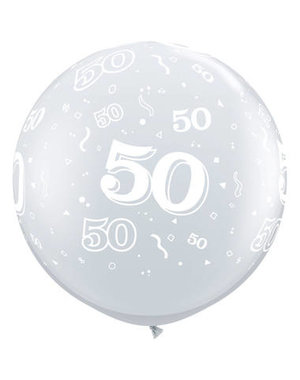 Ballon Zilver Metallic  50 Jaar- 90cm  Qualatex
