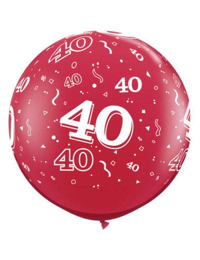 Ballon Robijn Rood  40 Jaar- 90cm  Qualatex