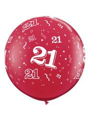Ballon Robijn Rood  21 Jaar- 90cm  Qualatex