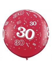 Ballon Robijn Rood  30Jaar- 90cm  Qualatex