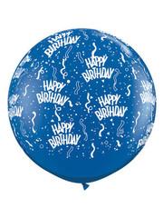 Ballon Happy Birthday Blauw - 90cm  Qualatex