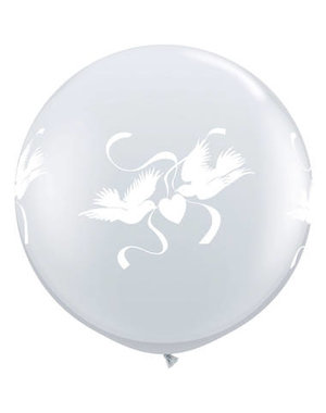 Ballon Wit Duiven - 90cm  Qualatex