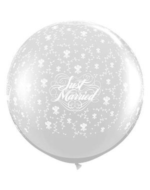 Ballon Zilver Just Married Flowers - 90cm  Qualatex
