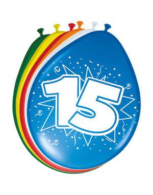 Ballonnen 15 Jaar 30cm - 8stk