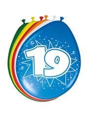 Ballonnen 19 Jaar 30cm - 8stk