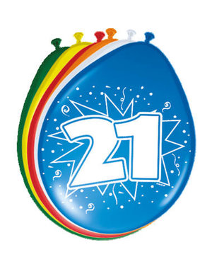 Ballonnen 21 Jaar 30cm - 8stk