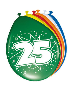Ballonnen 25 Jaar 30cm - 8stk