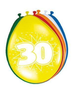 Ballonnen 30 Jaar 30cm - 8stk