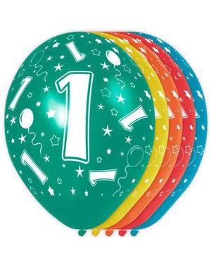Ballonnen Verjaardag 1 Jaar - 5stk
