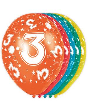 Ballonnen Verjaardag 3 Jaar - 5stk