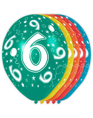 Ballonnen Verjaardag 6 Jaar - 5stk